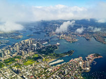 Sydney Harbour Aerial landscape. Aerial landscape photo of Sydney Harbour from an extremely high view point. Shows both Sydney Harbour bridge and Sydney Opera Royalty Free Stock Photography
