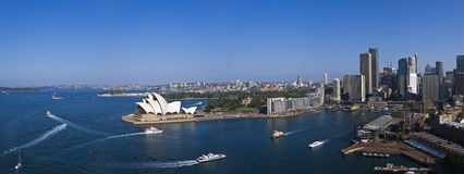 Sydney Harbour in the afternoon sun. A stock photo of Sydney Harbour as seen from the top of the Southern Pylon in the afternoon. Shows landmarks such as Stock Photography
