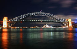 Sydney Harbour, Australia. Sydney Harbour Bridge panorama at night, Australia Stock Photos