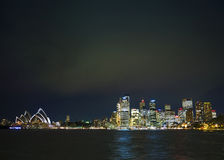 Sydney harbour in australia at night Stock Photo