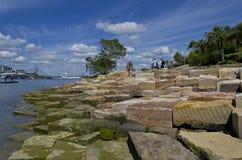 Sydney Harbour Barangaroo Sandstone Royaltyfria Foton