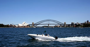 Sydney Harbour Bridge. Speed Boat and Sydney Harbour Bridge, Sydney, Australia Stock Images