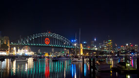 Sydney Harbour Bridge. And city skyline by night Royalty Free Stock Photos