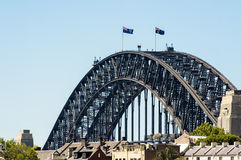 Sydney Harbour Bridge. With Australian flags on top Royalty Free Stock Image