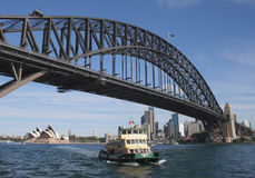 Sydney Harbour Bridge. And ferry, Sydney, Australia Royalty Free Stock Photos