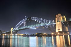 Sydney Harbour Bridge. At night taken from the north side of the Harbour looking south west to the city Stock Photo