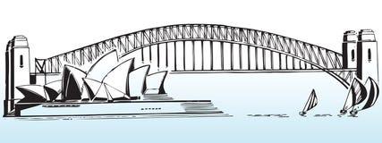 Sydney harbour bridge. Illustration of Sydney harbour bridge and Opera House on white background; Australia Stock Photos