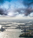 Sydney Harbour Bridge. Aerial view from helicopter on a beautifu Royalty Free Stock Photography