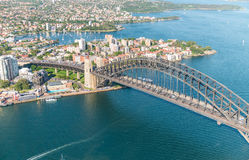 Sydney Harbour Bridge. Aerial view from helicopter on a beautifu Stock Image