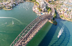 Sydney Harbour Bridge. Aerial view from helicopter on a beautifu Stock Images