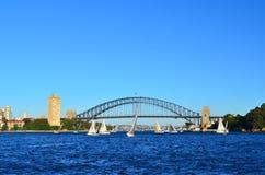 Sydney Harbour Bridge 4. Sydney Harbour bridge against the azure sky and yacht sailing Stock Photography