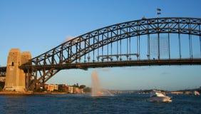 Sydney Harbour Bridge, Australia. Sydney Harbour Bridge & water cannon, New Years Eve, Australia Royalty Free Stock Image