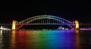 Sydney Harbour Bridge colour rainbow Vivid Sydney Royalty Free Stock Photography