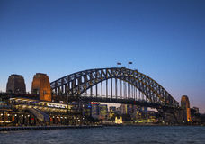 Sydney harbour bridge in australia at night Royalty Free Stock Photo