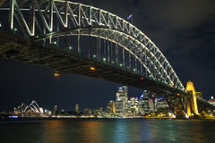 Sydney harbour bridge in australia at night Royalty Free Stock Photos