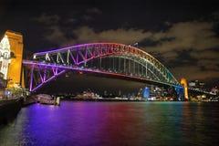 Sydney Harbour Bridge, Australia. NTH SYDNEY, AUSTRALIA - JUNE 6, 2014;  Sydney Harbour Bridge in vibrant rainbow colours during the Annual Vivid Festival, view Royalty Free Stock Photo