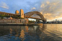 Sydney Harbour Bridge Australia Spectacular ottaljus arkivfoto