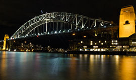 Sydney Harbour Bridge bij Nacht Stock Fotografie
