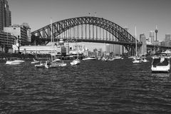 Sydney Harbour Bridge. Black and white photo of the Sydney Harbour Bridge and the beautiful sydney harbour cityscape from lavender bay Royalty Free Stock Images
