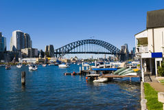 Sydney Harbour Bridge Boats. Yachts and boats on Sydney Harbour ( harbor ) with the Bridge and Opera House in the background on a perfect blue sky day Stock Photos