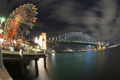 Sydney Harbour Bridge Carousel. The view is near Lunar Park playground Stock Photo