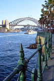 Sydney Harbour Bridge from Circular Quay with Railings Detail Stock Photos