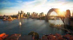 Sydney harbour and bridge in Sydney city stock photos