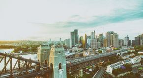 Sydney Harbour Bridge and city skyline, aerial view at dusk Stock Photo