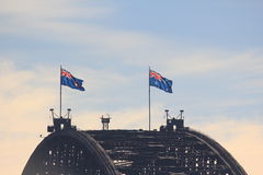 Sydney Harbour Bridge crest with flags Stock Photo