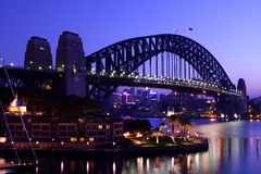 Sydney Harbour Bridge at dawn. Sydney Harbour Bridge at first light Royalty Free Stock Photos