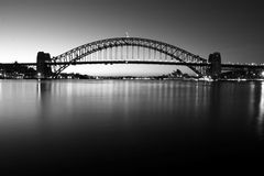 Sydney Harbour Bridge at dawn. Sydney Harbour Bridge at dawn, in monochrome Royalty Free Stock Photo