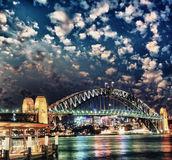 Sydney Harbour Bridge at dusk Stock Images
