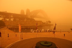 Sydney Harbour Bridge during extreme dust storm. An extreme dust storm descends on Sydney, Australia, blanketing the Sydney Harbour Bridge Stock Images