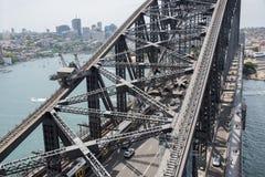 Sydney Harbour Bridge: Ferrovia e carreggiata Fotografie Stock