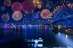 Sydney Harbour Bridge Fireworks Opera House Australia. Sydney New Years Eve fireworks with the harbour bridge, city and Opera House in the background stock photo