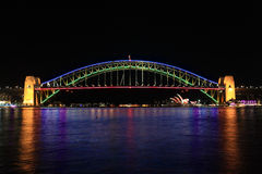 Sydney Harbour Bridge glows in beautiful colours Stock Images