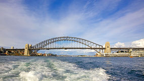 Sydney Harbour Bridge. The iconic Sydney Harbour Bridge is a steel arch bridge across Sydney Harbour that carries rail, vehicular, bicycle and pedestrian traffic Royalty Free Stock Images