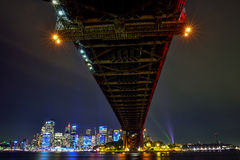 Sydney Harbour Bridge illuminated with colourful light design, Stock Photo