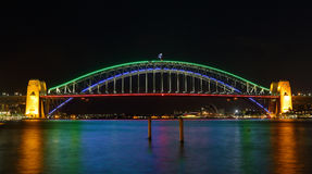 Sydney Harbour Bridge illuminated in colours for Vivid Sydney Stock Photo