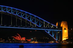 Sydney Harbour Bridge Laser Light-Vertoning Royalty-vrije Stock Afbeeldingen