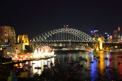 Illuminated Sydney city at Harbour Bridge with Luna Park Stock Image