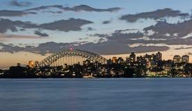 Sydney Harbour Bridge lit up at night Royalty Free Stock Photos