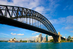Sydney harbour bridge looking up from under with opera house in distance, blue sky Stock Photography