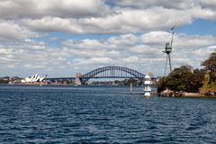Sydney Harbour Bridge. Sydney, New South Wales, Australia, September 13, 2013: Sydney Harbour Bridge, known colloquially  as The Coat Hanger, seen from on the stock photo