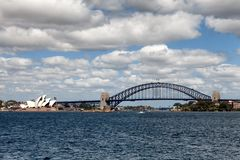 Sydney Harbour Bridge. Sydney, New South Wales, Australia, September 13, 2013: Sydney Harbour Bridge, known colloquially  as The Coat Hanger, seen from on the royalty free stock photos