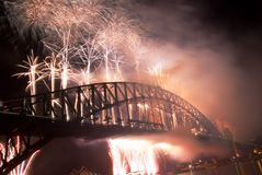 Sydney Harbour Bridge New Year Fireworks. Sparkling New Year Eve nye Fireworks in Sydney Harbour Sky Line At Night, NSW, Australia, Oceania. The Sydney harbour Royalty Free Stock Photography