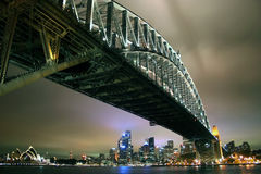 Sydney Harbour Bridge by night. Looking under Sydney Harbour Bridge toward the CDB from North Sydney, Australia at night Stock Images