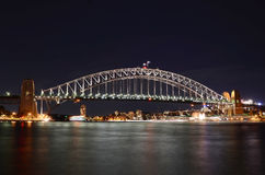 Sydney Harbour Bridge At Night Royalty Free Stock Photos