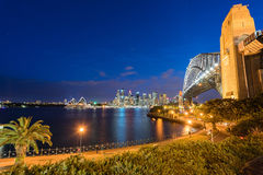 Sydney Harbour Bridge at night. Sydney Harbour Bridge and Sydney Opera House NSW Australia Stock Image