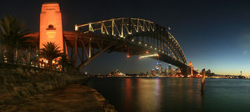 Sydney Harbour Bridge At Night Panorama Royalty Free Stock Photo
